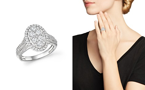 Bloomingdale's Diamond Oval Cluster Engagement Ring in 14K White Gold, 1.0 ct. t.w._2