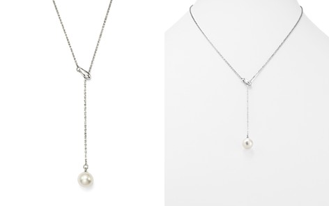 """Bloomingdale's Cultured Freshwater Pearl Y Necklace in 14K White Gold, 20"""" - 100% Exclusive _2"""