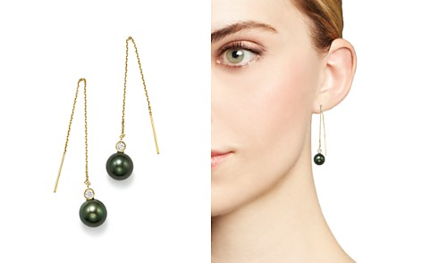 Bloomingdale's Cultured Tahitian Pearl & Diamond Threader Earrings in 14K Yellow Gold - 100% Exclusive _2