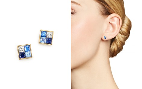 Bloomingdale's Diamond & Blue Sapphire Geometric Stud Earrings in 14K Yellow Gold - 100% Exclusive_2