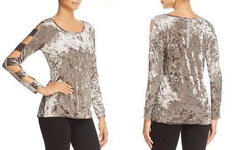 Love Scarlett Cutout Ladder Sleeve Crushed Velvet Top - Bloomingdale's_2