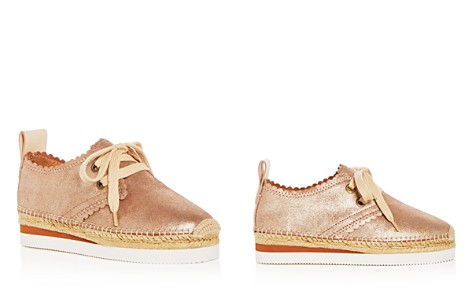 658b22a00d29 See by Chloé Women s Scalloped Leather Lace Up Platform Espadrille Flats -  Bloomingdale s 2