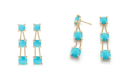 David Yurman Châtelaine Linear Chain Earrings with Turquoise & Diamonds in 18K Gold - Bloomingdale's_2