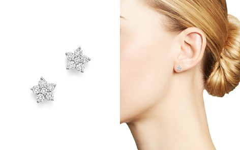 Bloomingdale's Diamond Flower Small Stud Earrings in 14K White Gold, 0.40 ct. t.w. - 100% Exclusive_2