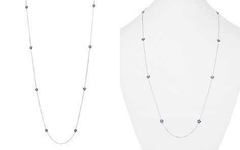 Bloomingdale's Diamond & Blue Sapphire Long Station Necklace in 14K White Gold - 100% Exclusive_2