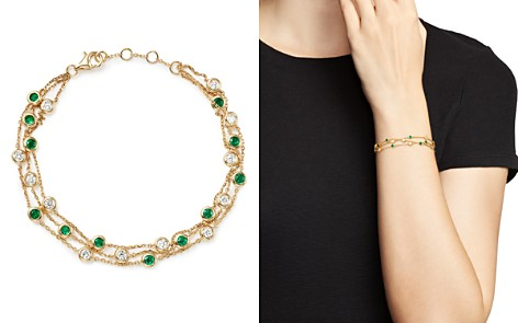 Bloomingdale's Emerald & Diamond Station Bracelet in 18K Yellow Gold - 100% Exclusive _2