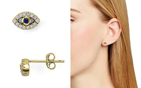 AQUA Sterling Silver Evil Eye Stud Earrings - 100% Exclusive - Bloomingdale's_2