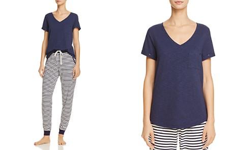 Jane & Bleecker New York Short Sleeve V-Neck Tee & Striped Jogger Pants - Bloomingdale's_2