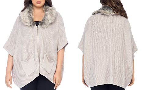 B Collection by Bobeau Curvy Carlie Faux-Fur Collar Cardigan - Bloomingdale's_2