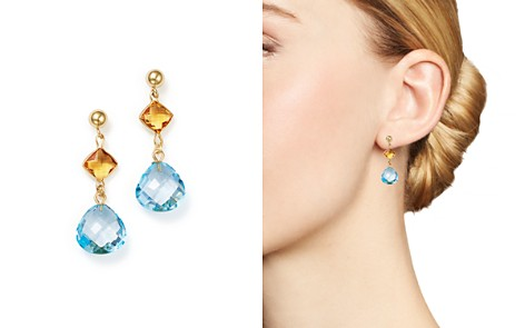 Bloomingdale's Blue Topaz & Citrine Drop Earrings in 14K Yellow Gold - 100% Exclusive _2