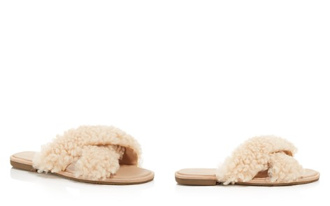 UGG® Women's Joni Lamb Fur Crisscross Slide Sandals - Bloomingdale's_2