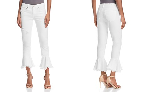 BLANKNYC Ruffle-Hem Distressed Skinny Jeans in Great White - Bloomingdale's_2