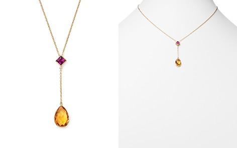 """Olivia B 14K Yellow Gold Citrine Teardrop & Rhodolite Garnet Y Necklace, 15"""" - 100% Exclusive - Bloomingdale's_2"""