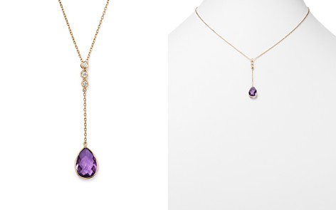 """Olivia B 14K Yellow Gold Amethyst & Diamond Pendant Y Necklace, 15"""" - 100% Exclusive - Bloomingdale's_2"""