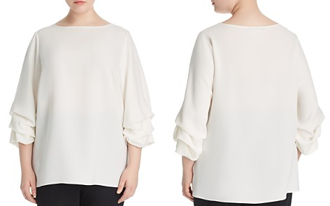 Lafayette 148 New York Plus Winston Ruched-Sleeve Blouse - Bloomingdale's_2