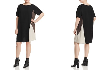 Eileen Fisher Plus Silk Color Block Shift Dress - Bloomingdale's_2