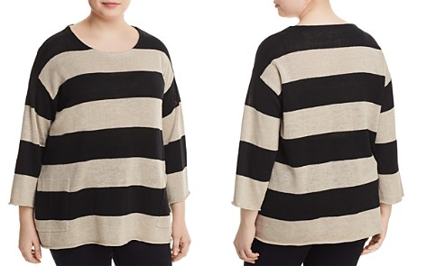 Eileen Fisher Plus Organic Linen Awning-Stripe Sweater - Bloomingdale's_2