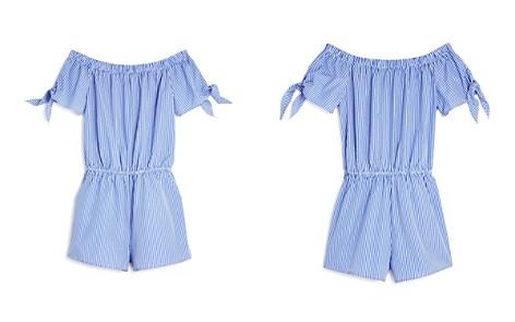 AQUA Girls' Striped Off-the-Shoulder Romper, Big Kid - 100% Exclusive - Bloomingdale's_2