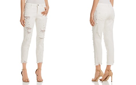 Sunset + Spring Embellished Distressed Straight-Leg Jeans in White - 100% Exclusive - Bloomingdale's_2
