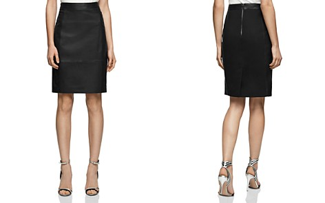 REISS Olivia Leather-Front Skirt - Bloomingdale's_2