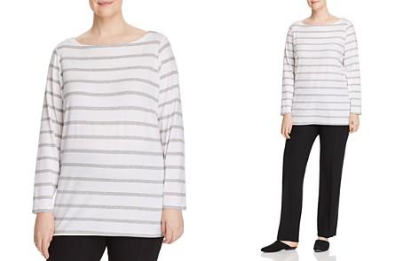 Eileen Fisher Plus Striped Boatneck Top - Bloomingdale's_2