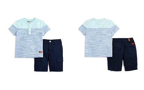 7 For All Mankind Boys' Henley Tee & Twill Shorts Set - Little Kid - Bloomingdale's_2