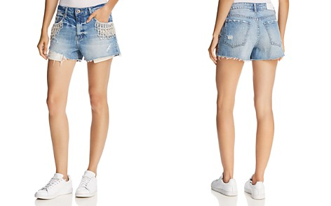 Pistola Winston Embellished Cutoff Denim Shorts in Cristal - Bloomingdale's_2