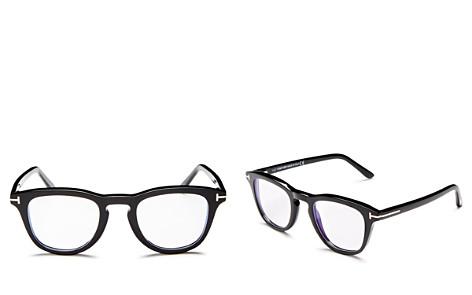 Tom Ford Square Keyhole Blue Blocker Glasses, 49mm - Bloomingdale's_2