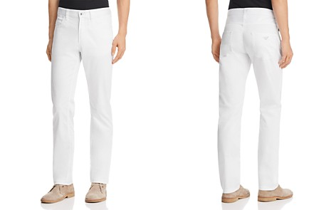 Emporio Armani Straight Fit Five-Pocket Jeans in White - Bloomingdale's_2