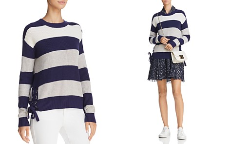 Minnie Rose Lace-Up Striped Sweater - Bloomingdale's_2