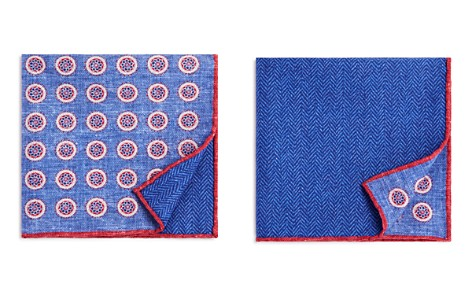 The Men's Store at Bloomingdale's Circle Medallion/Herringbone Pocket Square - 100% Exclusive_2