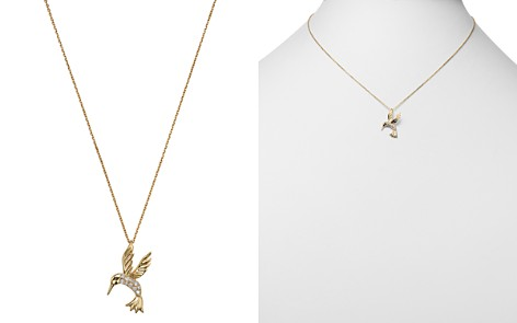 Diamond Hummingbird Pendant Necklace in 14K Yellow Gold, .09 ct. t.w. - Bloomingdale's_2