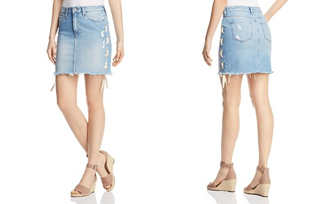Mavi Frida Lace-Up Denim Skirt in Light Summer Lace - Bloomingdale's_2