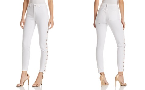 T Tahari Goldie Embroidered Skinny Jeans in White - Bloomingdale's_2