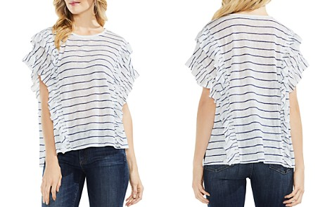 VINCE CAMUTO Striped Ruffle Top - Bloomingdale's_2