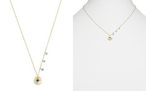 "Meira T 14K White & Yellow Gold Evil Eye Sapphire & Diamond Disc Pendant Necklace, 16"" - Bloomingdale's_2"