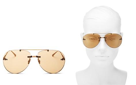 Bottega Veneta Brow Bar Rimless Aviator Sunglasses, 63mm - Bloomingdale's_2