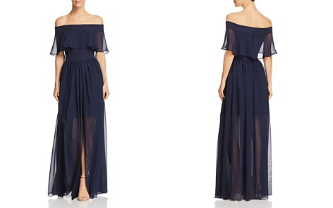 AQUA Off-the-Shoulder Chiffon Dress - 100% Exclusive - Bloomingdale's_2