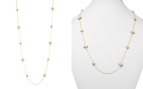 "Roberto Coin 18K Yellow Gold Venetian Princess Diamond & Mother-Of-Pearl Flower Station Necklace, 26"" - Bloomingdale's_2"