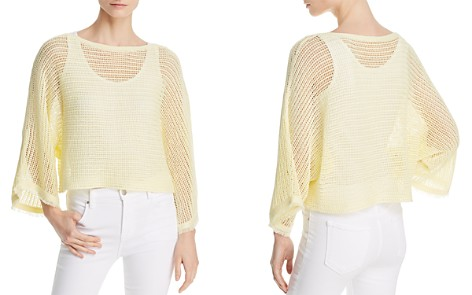 Eileen Fisher Fringed Cuff Organic Linen Mesh Sweater - Bloomingdale's_2