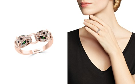 Bloomingdale's Diamond & Tsavorite Double Panther Ring in 14K Rose Gold, 0.33 ct. t.w. - 100% Exclusive _2