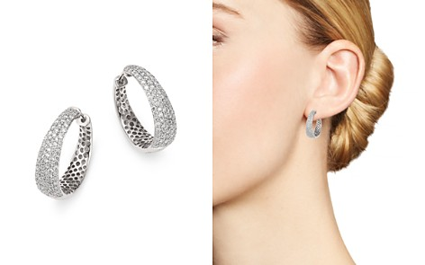 Roberto Coin 18K White Gold Scalare Diamond Hoop Earrings - Bloomingdale's_2