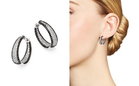 Roberto Coin 18k White Gold Scalare Black Diamond Hoop Earrings Bloomingdale S 2