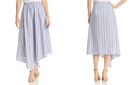 Donna Karan Striped Embroidered Asymmetric Skirt - Bloomingdale's_2