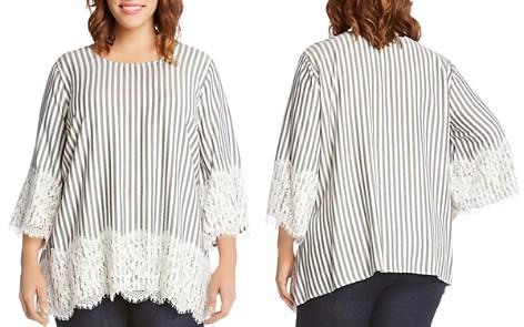 Karen Kane Plus Lace-Trimmed Striped Top - Bloomingdale's_2