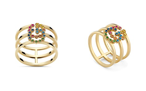 Gucci 18K Yellow Gold GG Running Mixed Gemstone Ring - Bloomingdale's_2