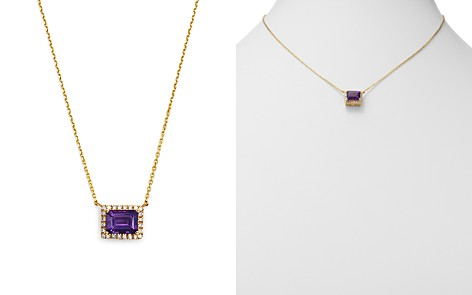 """Bloomingdale's Emerald-Cut Amethyst & Diamond Pendant Necklace in 14K Yellow Gold, 16"""" - 100% Exclusive _2"""