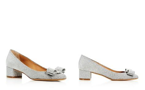 Salvatore Ferragamo Women's Vara Glitter Leather Block Heel Pumps - Bloomingdale's_2