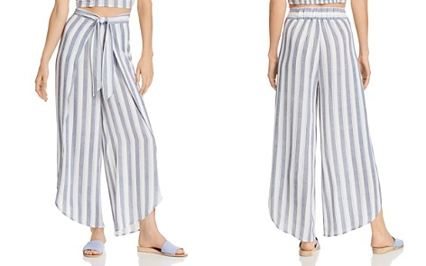 AQUA Tie-Front Striped Wide-Leg Pants - 100% Exclusive - Bloomingdale's_2