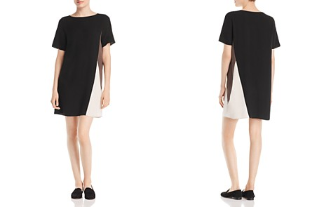 Eileen Fisher Petites Silk Color Block Shift Dress - Bloomingdale's_2
